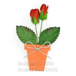 Die Cut Plant Pot with Two Red Roses and Silver Bow